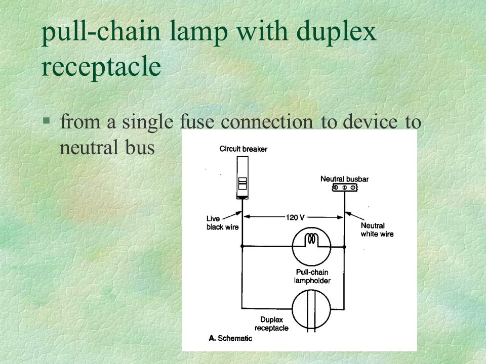 pull-chain lamp with duplex receptacle §from a single fuse connection to device to neutral bus
