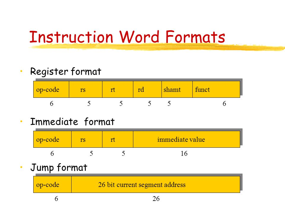 Instruction Word Formats Register format Immediate format Jump format op-code rs rt rd shamt funct op-code rs rt immediate value op-code 26 bit current segment address 6 55 16 6 555 5 6 6 26