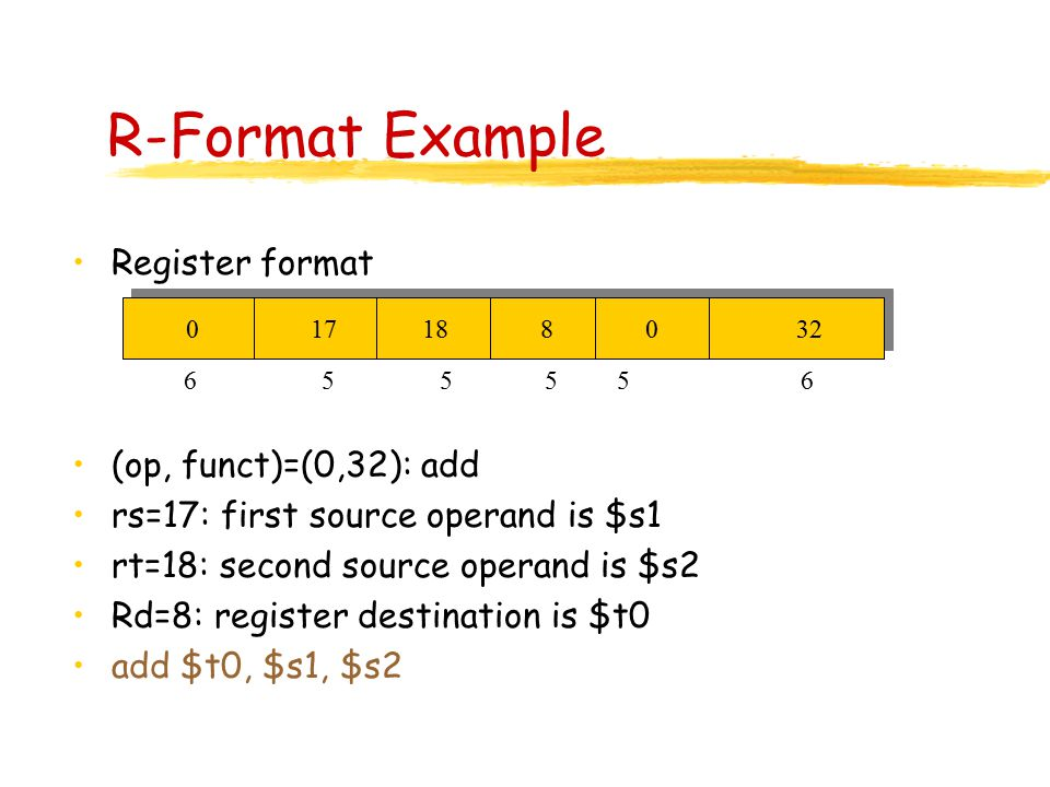 R-Format Example Register format (op, funct)=(0,32): add rs=17: first source operand is $s1 rt=18: second source operand is $s2 Rd=8: register destination is $t0 add $t0, $s1, $s2 0 17 18 8 0 32 6 555 5 6
