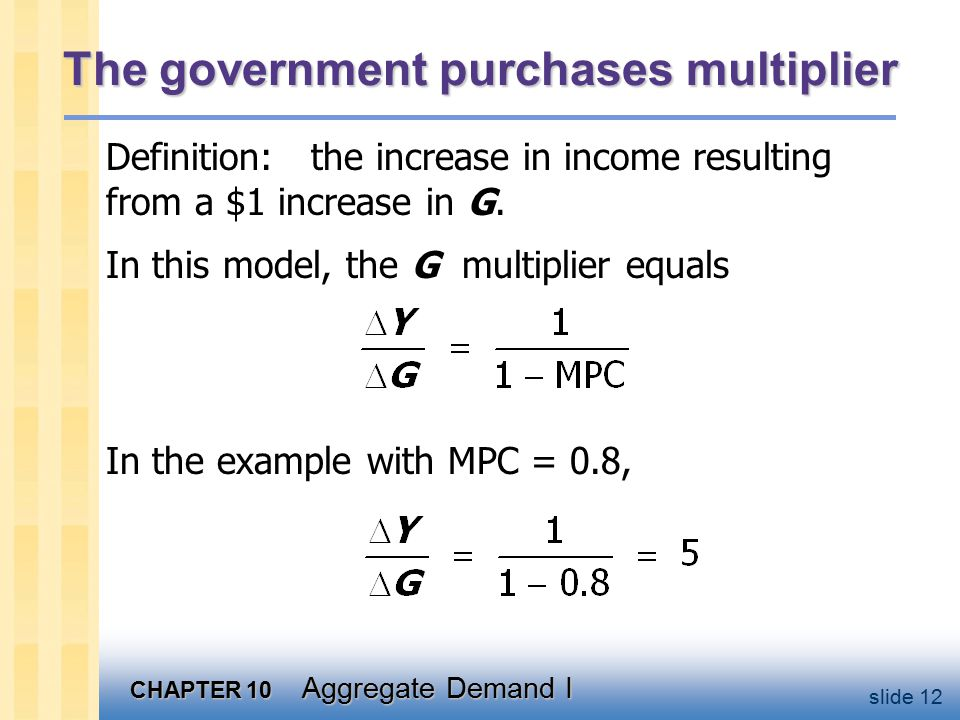 CHAPTER 10 Aggregate Demand I slide 12 The government purchases multiplier In the example with MPC = 0.8, Definition: the increase in income resulting from a $1 increase in G.