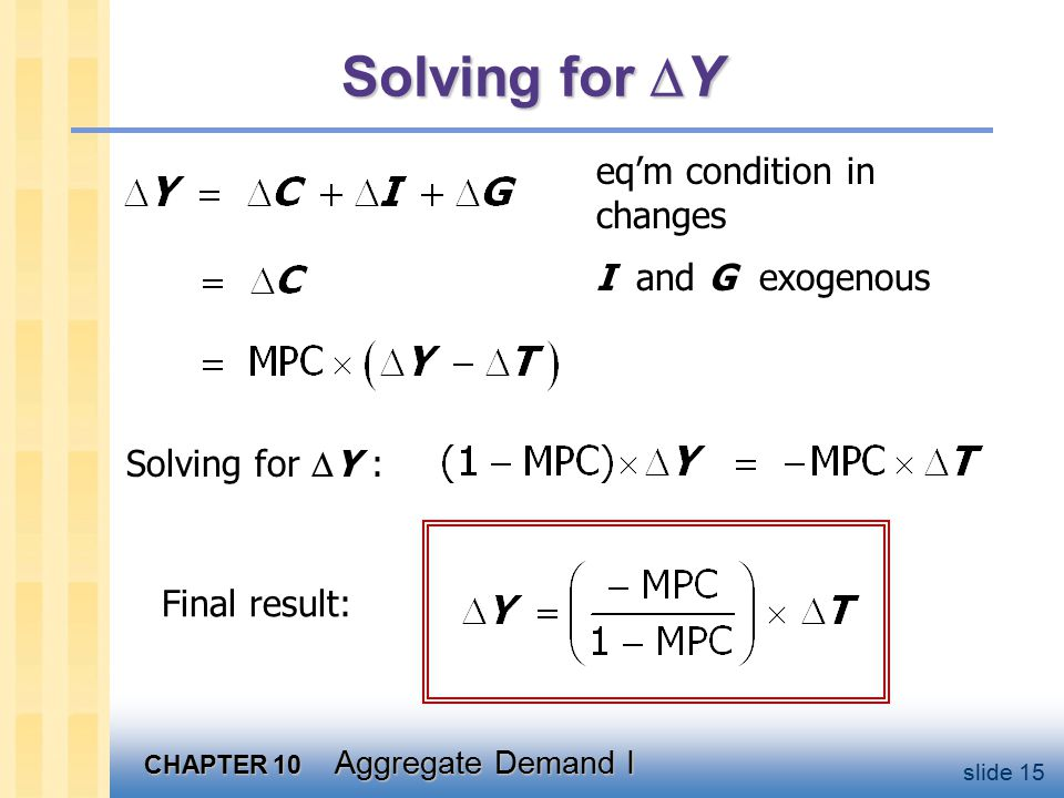 CHAPTER 10 Aggregate Demand I slide 15 Solving for  Y eq'm condition in changes I and G exogenous Solving for  Y : Final result: