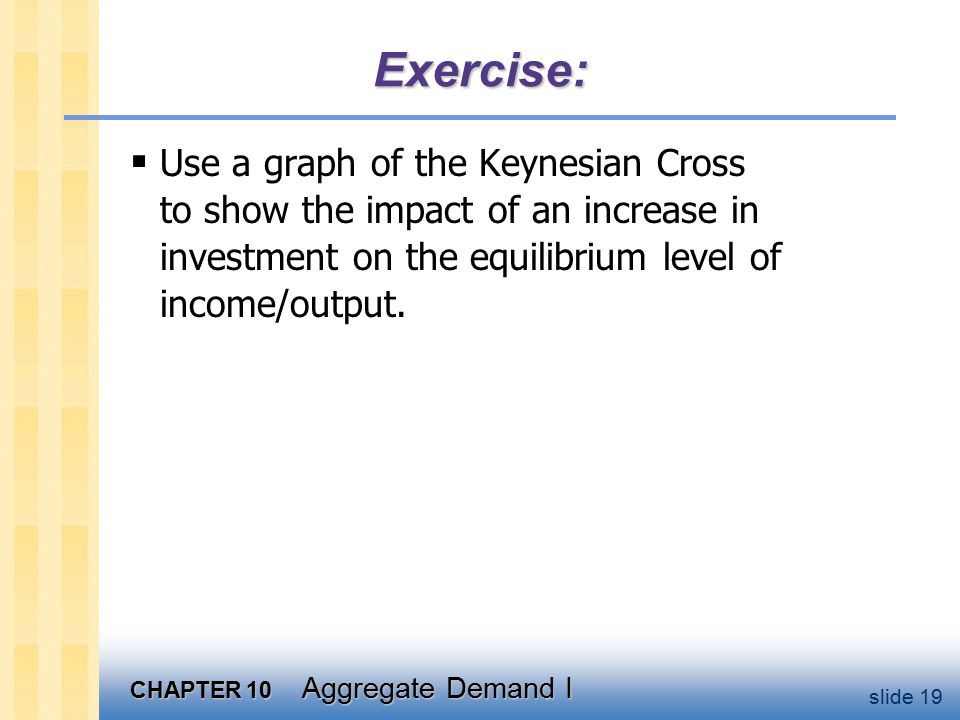 CHAPTER 10 Aggregate Demand I slide 19 Exercise:  Use a graph of the Keynesian Cross to show the impact of an increase in investment on the equilibrium level of income/output.