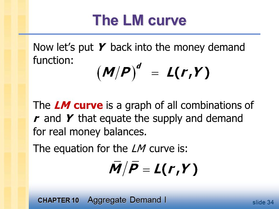CHAPTER 10 Aggregate Demand I slide 34 The LM curve Now let's put Y back into the money demand function: The LM curve is a graph of all combinations of r and Y that equate the supply and demand for real money balances.