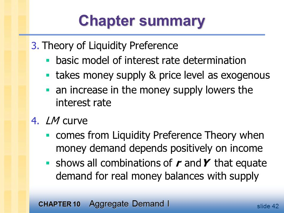 CHAPTER 10 Aggregate Demand I slide 42 Chapter summary 3.