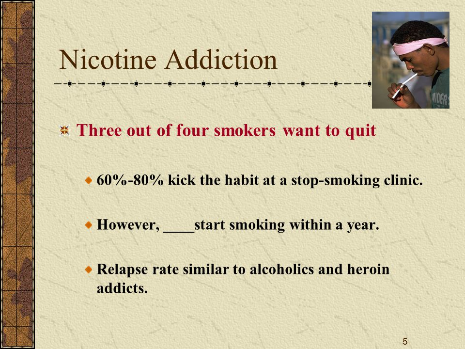 5 Nicotine Addiction Three out of four smokers want to quit 60%-80% kick the habit at a stop-smoking clinic.