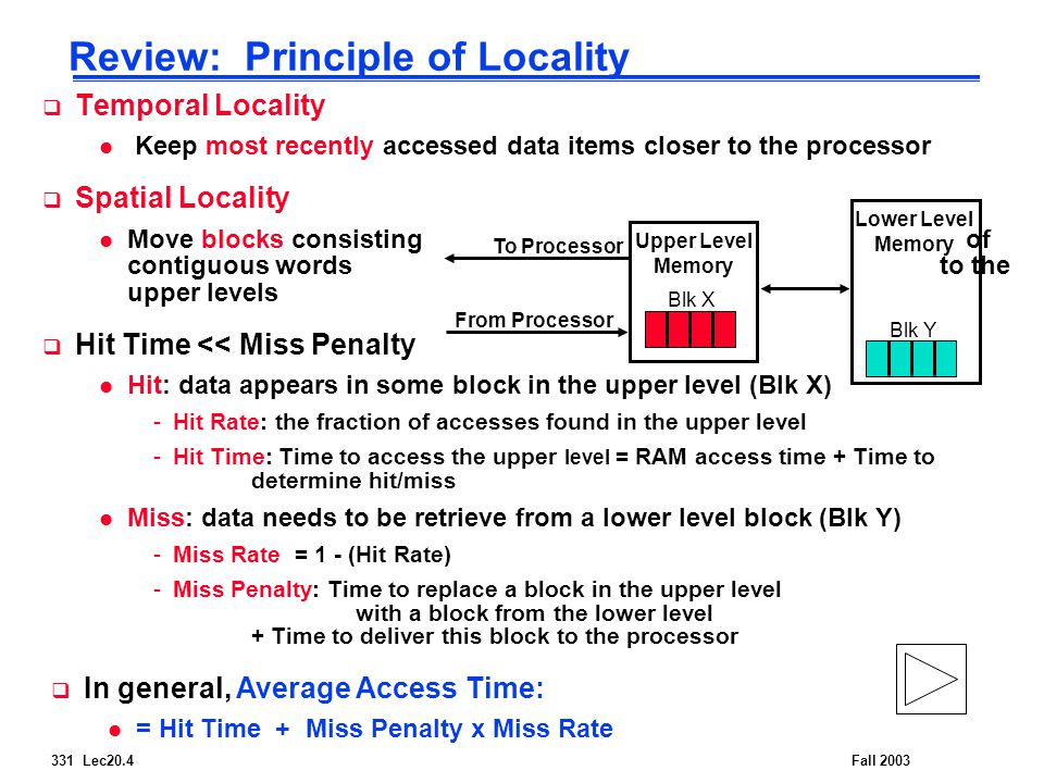 331 Lec20.4Fall 2003 Review: Principle of Locality  Temporal Locality l Keep most recently accessed data items closer to the processor  Spatial Locality l Move blocks consisting of contiguous words to the upper levels  Hit Time << Miss Penalty l Hit: data appears in some block in the upper level (Blk X) -Hit Rate: the fraction of accesses found in the upper level -Hit Time: Time to access the upper level = RAM access time + Time to determine hit/miss l Miss: data needs to be retrieve from a lower level block (Blk Y) -Miss Rate = 1 - (Hit Rate) -Miss Penalty: Time to replace a block in the upper level with a block from the lower level + Time to deliver this block to the processor Lower Level Memory Upper Level Memory To Processor From Processor Blk X Blk Y  In general, Average Access Time: l = Hit Time + Miss Penalty x Miss Rate