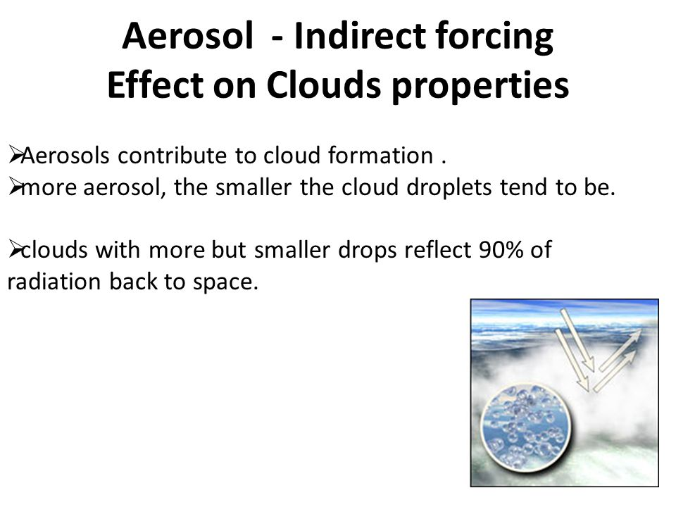 Aerosol - Indirect forcing Effect on Clouds properties  Aerosols contribute to cloud formation.