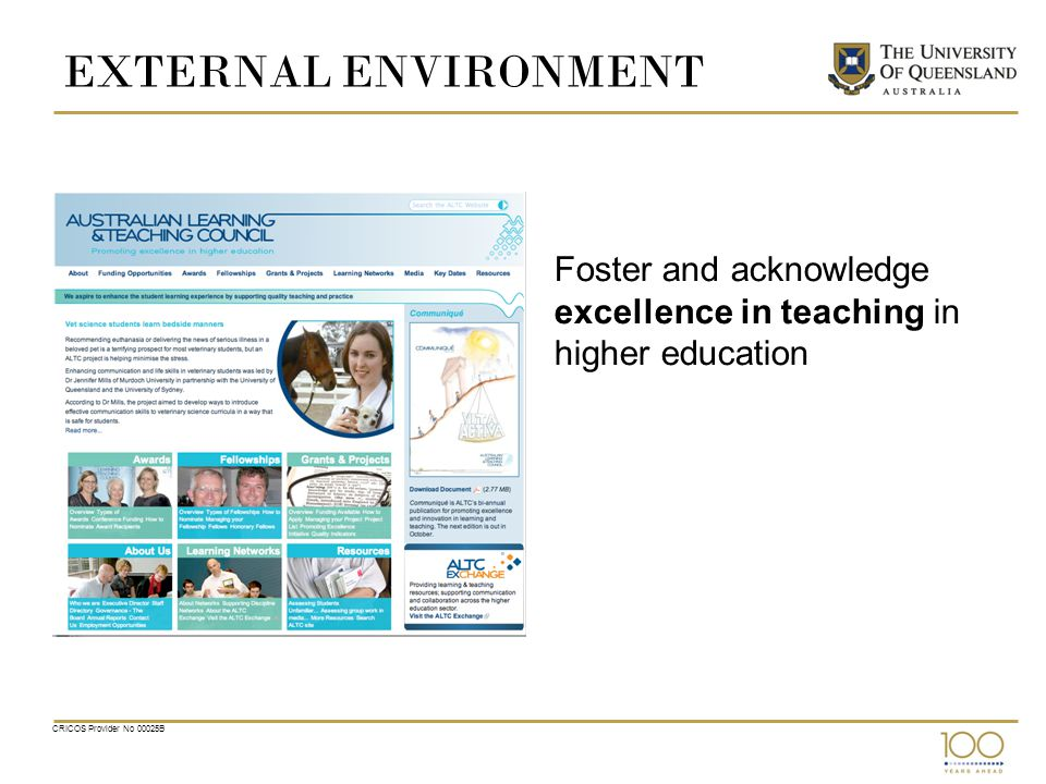 EXTERNAL ENVIRONMENT Foster and acknowledge excellence in teaching in higher education CRICOS Provider No 00025B