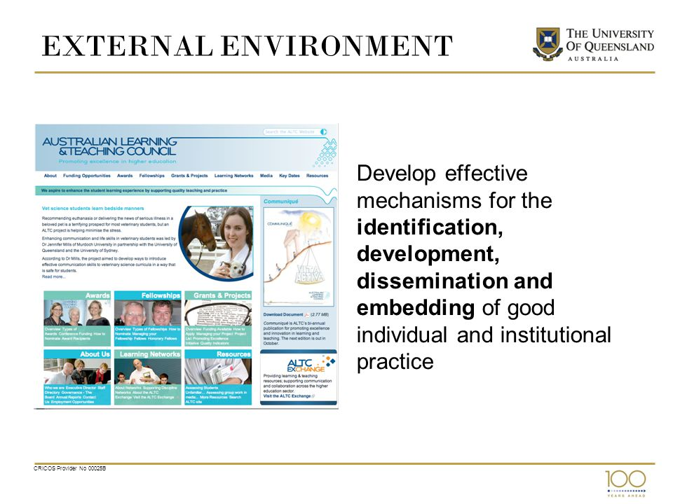 EXTERNAL ENVIRONMENT Develop effective mechanisms for the identification, development, dissemination and embedding of good individual and institutional practice CRICOS Provider No 00025B