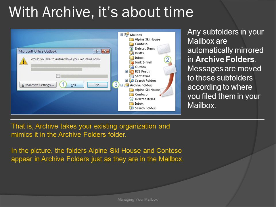 With Archive, it's about time Managing Your Mailbox Any subfolders in your Mailbox are automatically mirrored in Archive Folders.