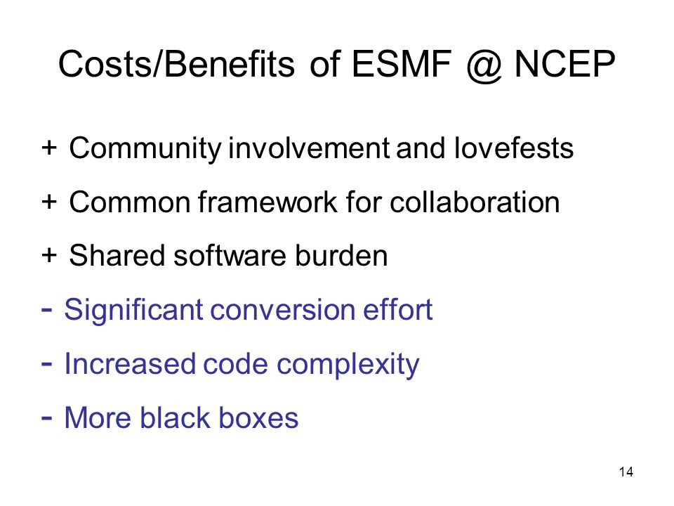 14 Costs/Benefits of NCEP + Community involvement and lovefests + Common framework for collaboration + Shared software burden - Significant conversion effort - Increased code complexity - More black boxes