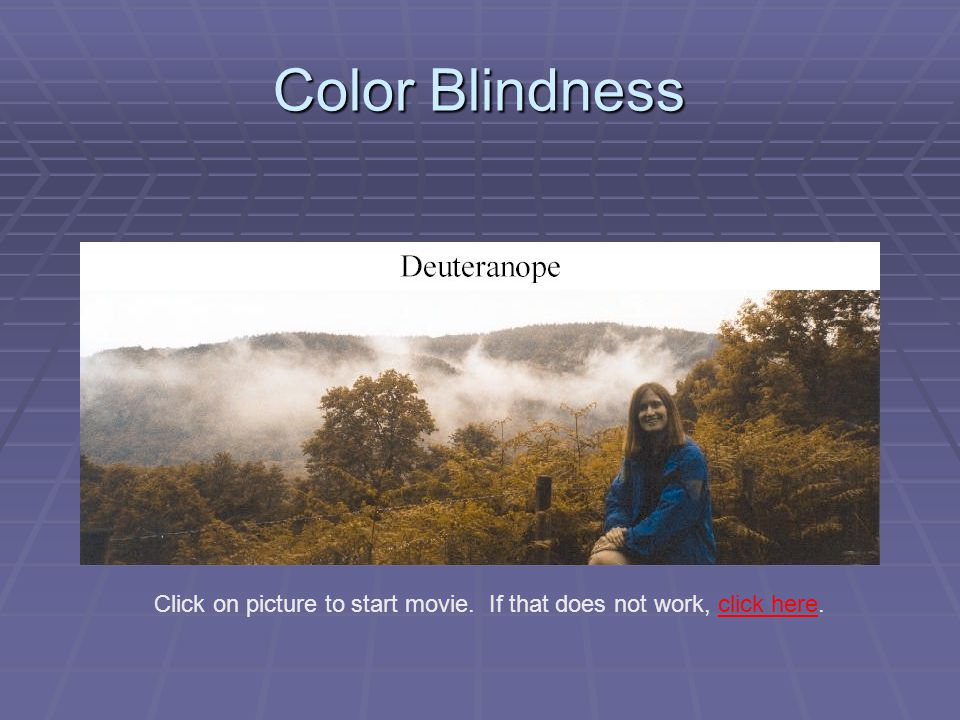 Color Blindness Click on picture to start movie. If that does not work, click here.click here