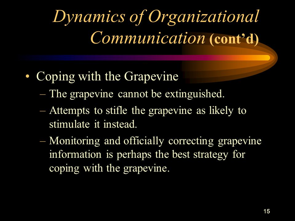 15 Coping with the Grapevine –The grapevine cannot be extinguished.
