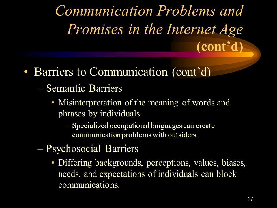 17 Barriers to Communication (cont'd) –Semantic Barriers Misinterpretation of the meaning of words and phrases by individuals.