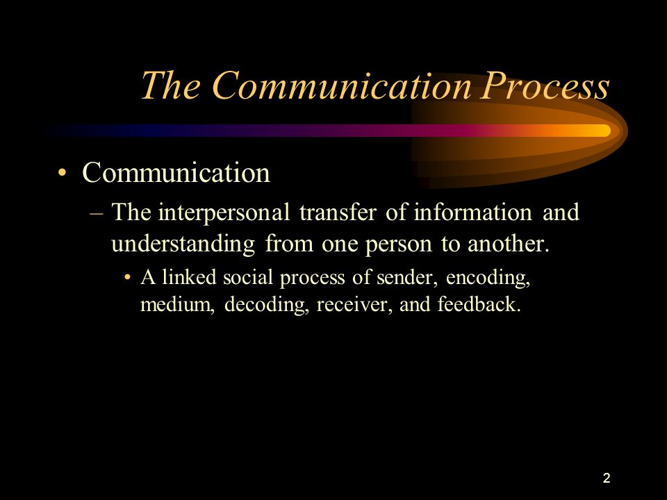 2 The Communication Process Communication –The interpersonal transfer of information and understanding from one person to another.