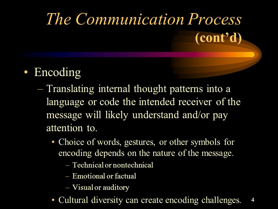 4 The Communication Process (cont'd) Encoding –Translating internal thought patterns into a language or code the intended receiver of the message will likely understand and/or pay attention to.