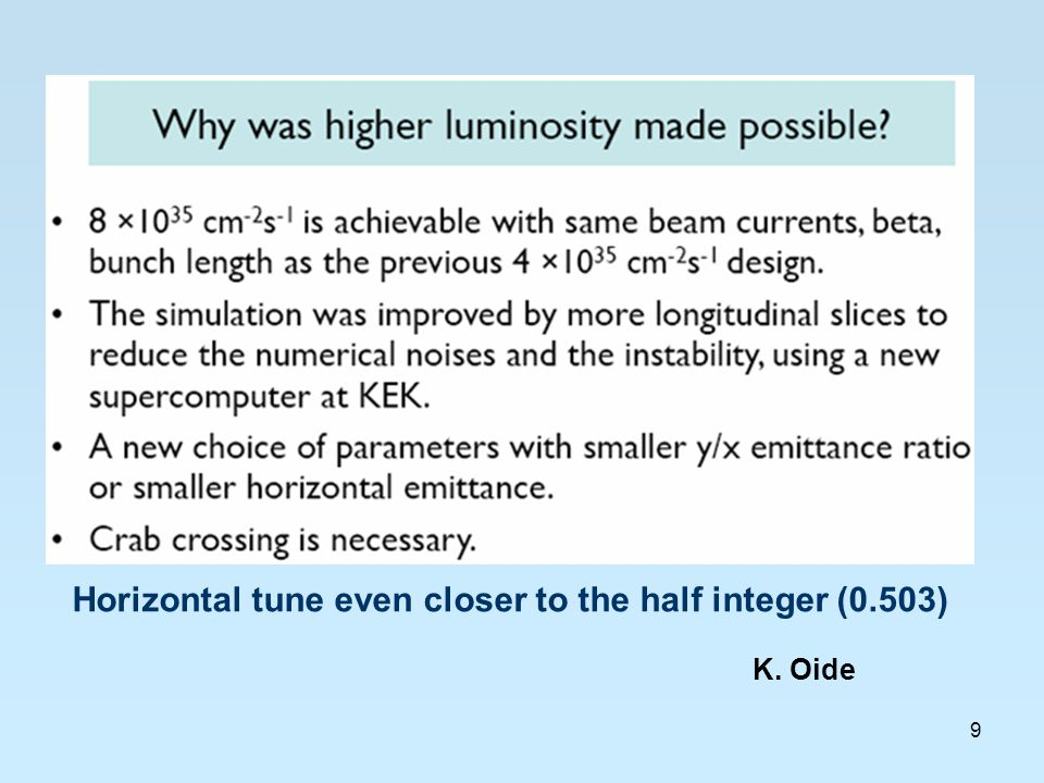 9 K. Oide Horizontal tune even closer to the half integer (0.503)
