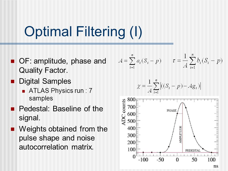 Optimal Filtering (I) OF: amplitude, phase and Quality Factor.