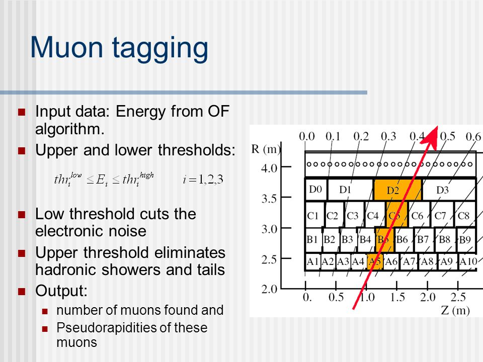 Muon tagging Input data: Energy from OF algorithm.