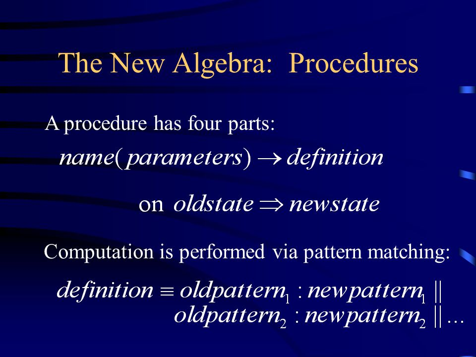 The New Algebra: Procedures Computation is performed via pattern matching: A procedure has four parts: