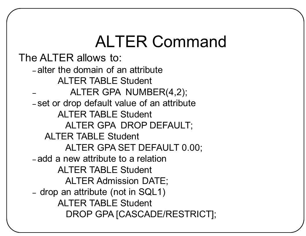 25 ALTER ...  sc 1 st  SlidePlayer & Database Systems n Database \u2013 an integrated collection of related ...