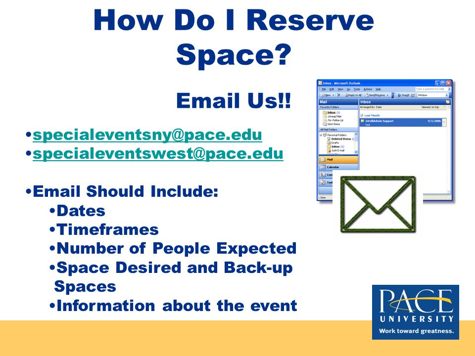 Reserving Space First step in the process –You can't hold an event without a location.