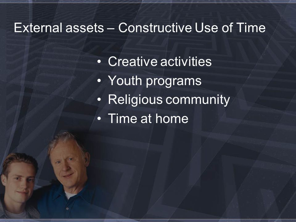 External assets – Constructive Use of Time Creative activities Youth programs Religious community Time at home