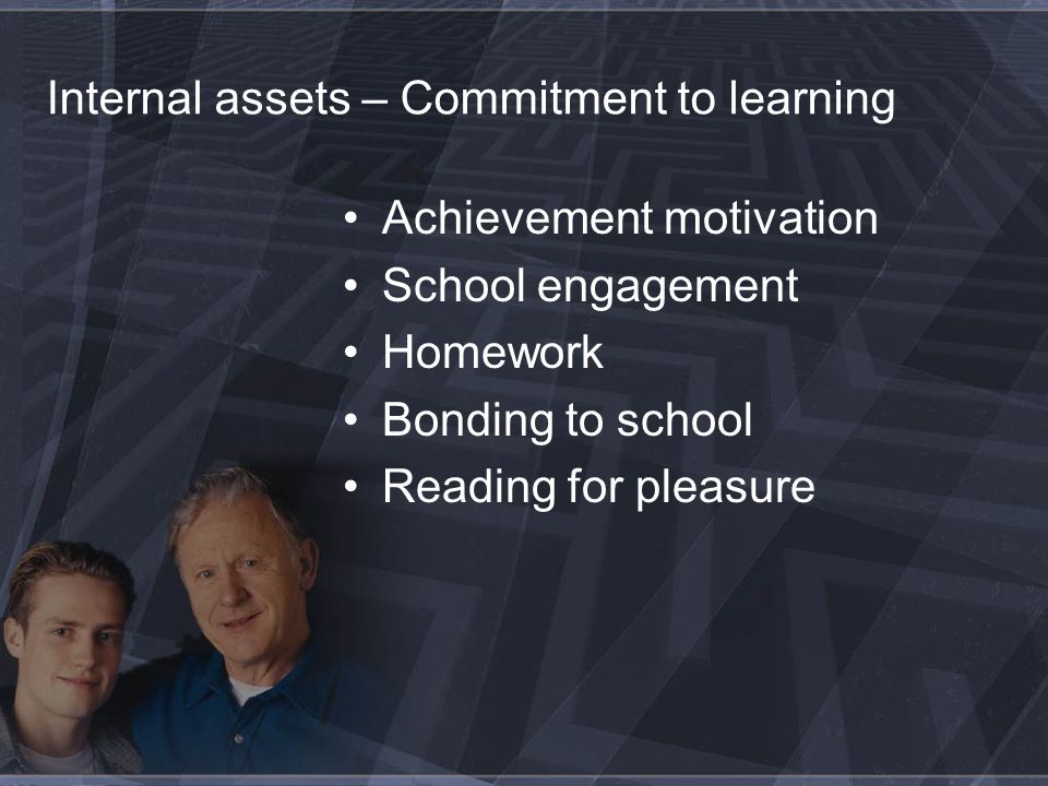 Internal assets – Commitment to learning Achievement motivation School engagement Homework Bonding to school Reading for pleasure