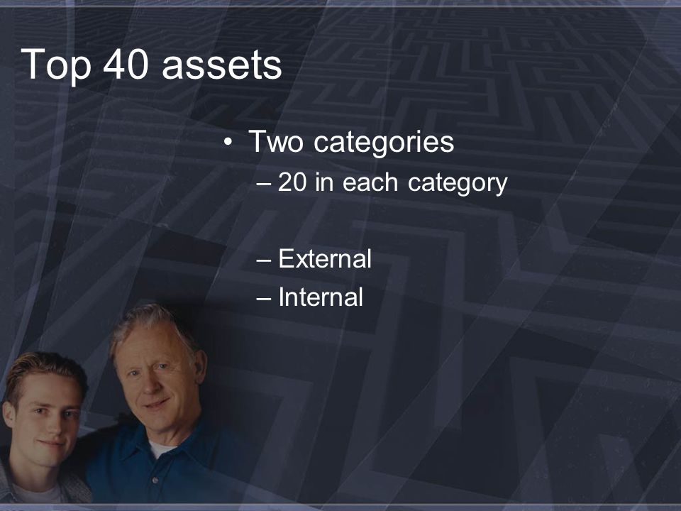 Top 40 assets Two categories –20 in each category –External –Internal