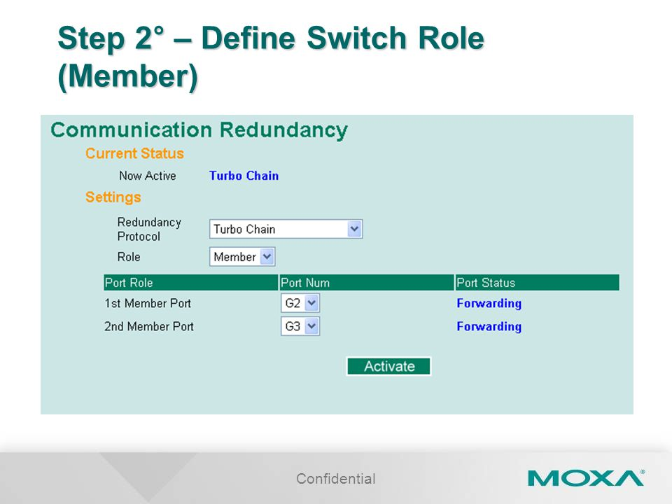 Confidential Step 2° – Define Switch Role (Member)