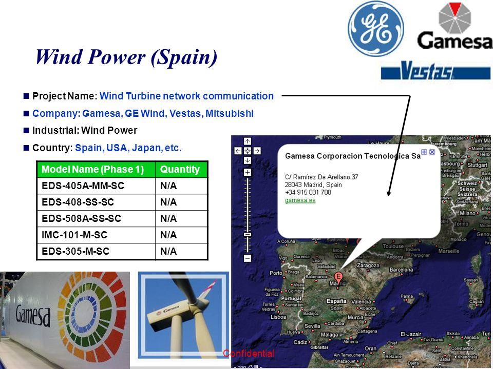 Wind Power (Spain) Project Name: Wind Turbine network communication Company: Gamesa, GE Wind, Vestas, Mitsubishi Industrial: Wind Power Country: Spain, USA, Japan, etc.