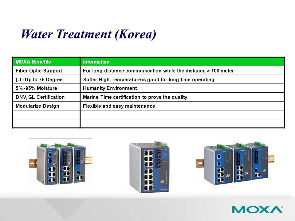 MOXA BenefitsInformation Fiber Optic SupportFor long distance communication while the distance > 100 meter (-T) Up to 75 DegreeSuffer High-Temperature is good for long time operating 5%~95% MoistureHumanity Environment DNV, GL CertificationMarine Time certification to prove the quality Modularize DesignFlexible and easy maintenance Water Treatment (Korea)