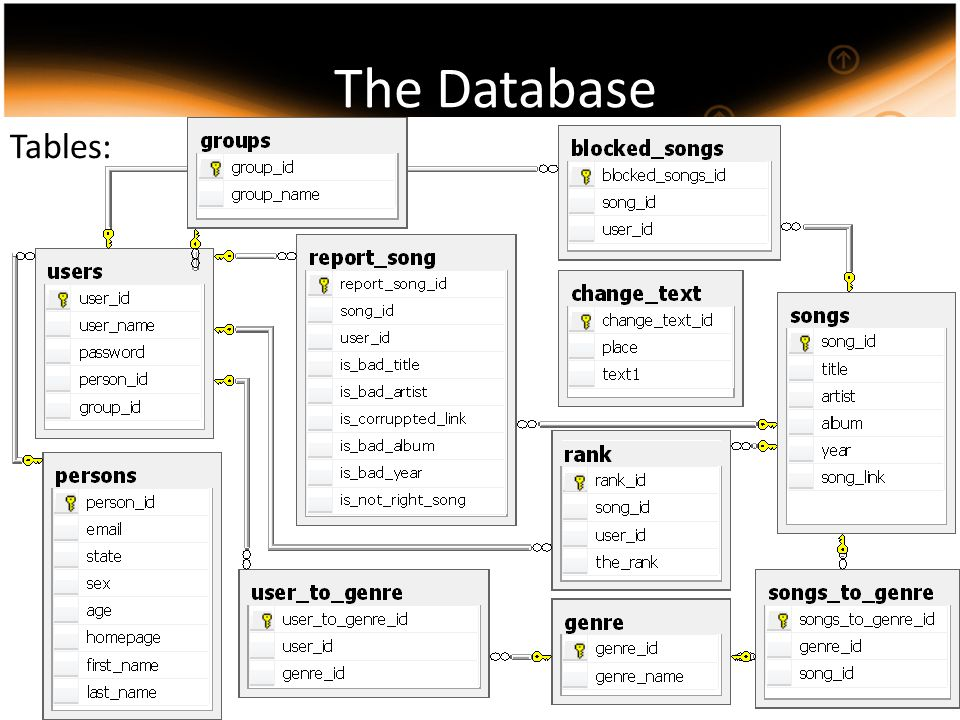 The Database Tables: