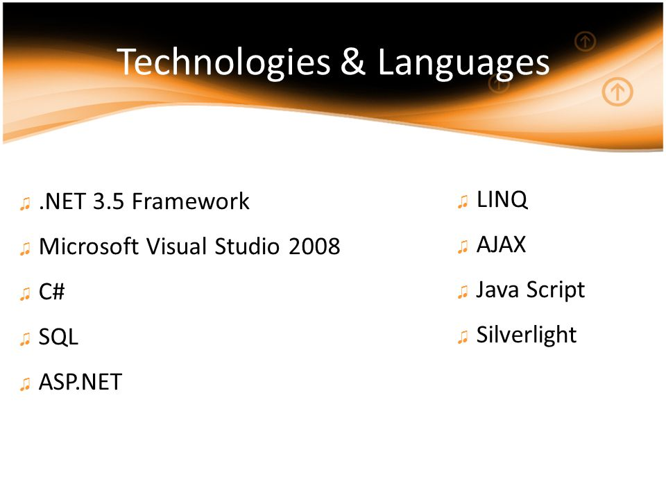 Technologies & Languages ♫.NET 3.5 Framework ♫ Microsoft Visual Studio 2008 ♫ C# ♫ SQL ♫ ASP.NET ♫ LINQ ♫ AJAX ♫ Java Script ♫ Silverlight