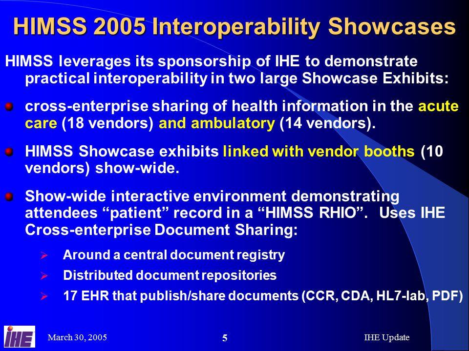 March 30, 2005IHE Update 5 HIMSS 2005 Interoperability Showcases HIMSS leverages its sponsorship of IHE to demonstrate practical interoperability in two large Showcase Exhibits: cross-enterprise sharing of health information in the acute care (18 vendors) and ambulatory (14 vendors).