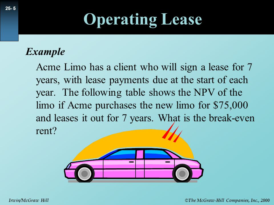 © The McGraw-Hill Companies, Inc., 2000 Irwin/McGraw Hill Operating Lease Example Acme Limo has a client who will sign a lease for 7 years, with lease payments due at the start of each year.
