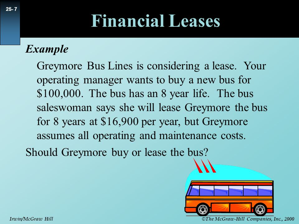 © The McGraw-Hill Companies, Inc., 2000 Irwin/McGraw Hill Financial Leases Example Greymore Bus Lines is considering a lease.