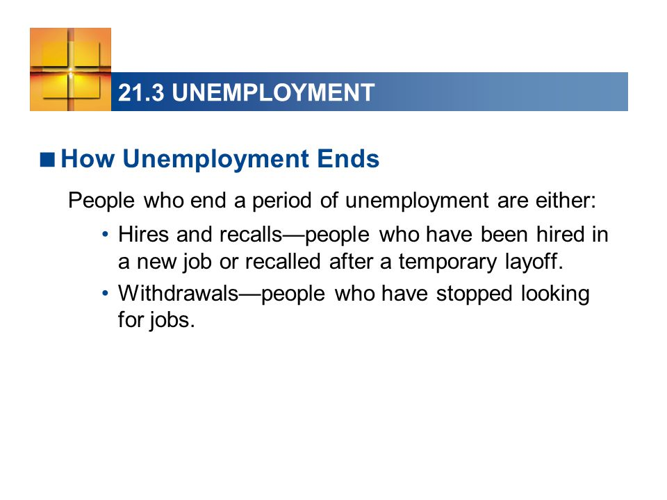 21.3 UNEMPLOYMENT  How Unemployment Ends People who end a period of unemployment are either: Hires and recalls—people who have been hired in a new job or recalled after a temporary layoff.
