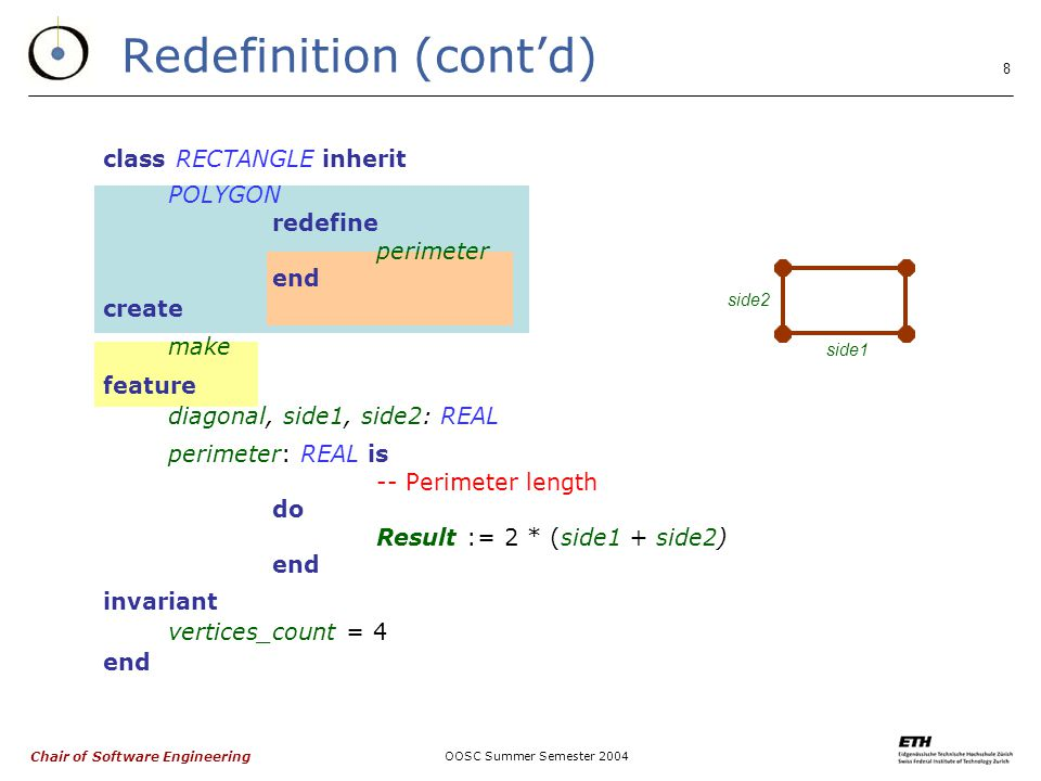 Chair of Software Engineering OOSC Summer Semester class RECTANGLE inherit POLYGON redefine perimeter end create make feature diagonal, side1, side2: REAL perimeter: REAL is -- Perimeter length do Result := 2 * (side1 + side2) end invariant vertices_count = 4 end Redefinition (cont'd) side1 side2