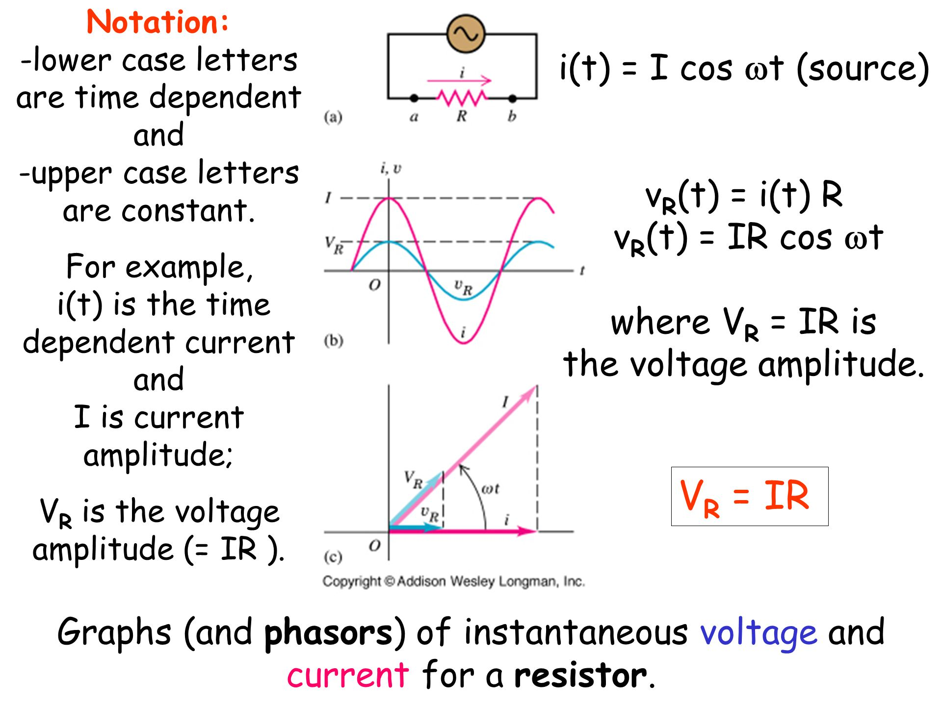 Phasors and acsec 311 resistance and reactancesec 312 rlc graphs and phasors of instantaneous voltage and current for a resistor pooptronica Gallery