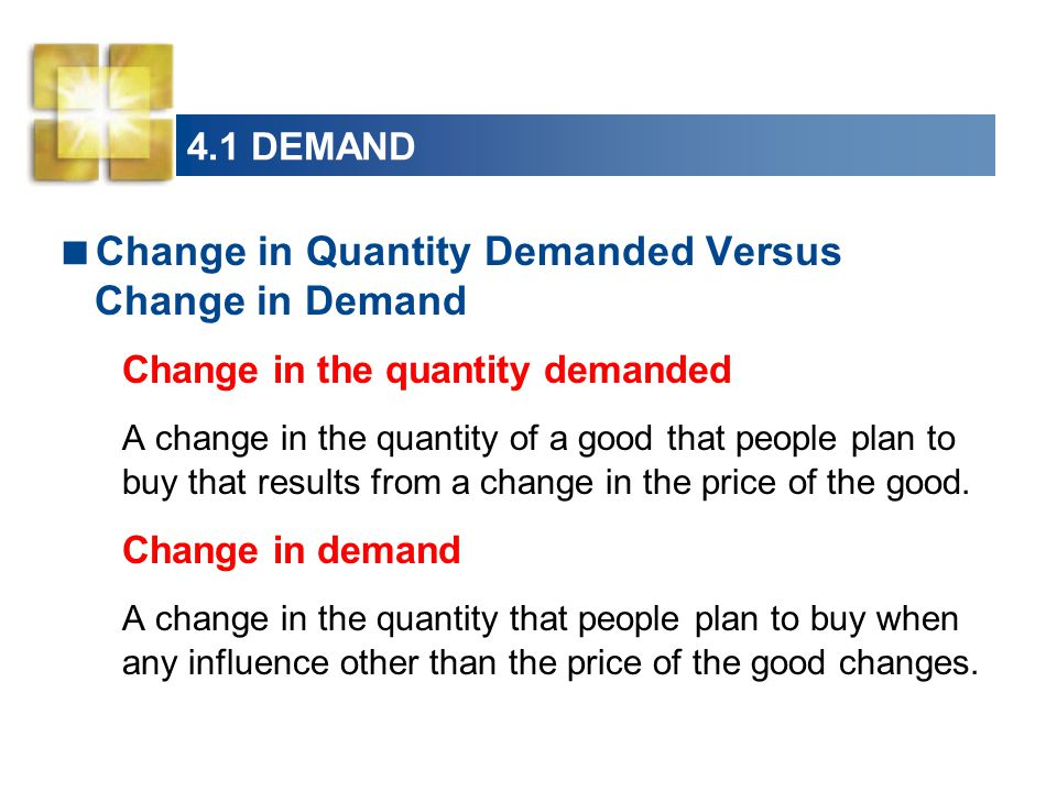 4.1 DEMAND  Change in Quantity Demanded Versus Change in Demand Change in the quantity demanded A change in the quantity of a good that people plan to buy that results from a change in the price of the good.