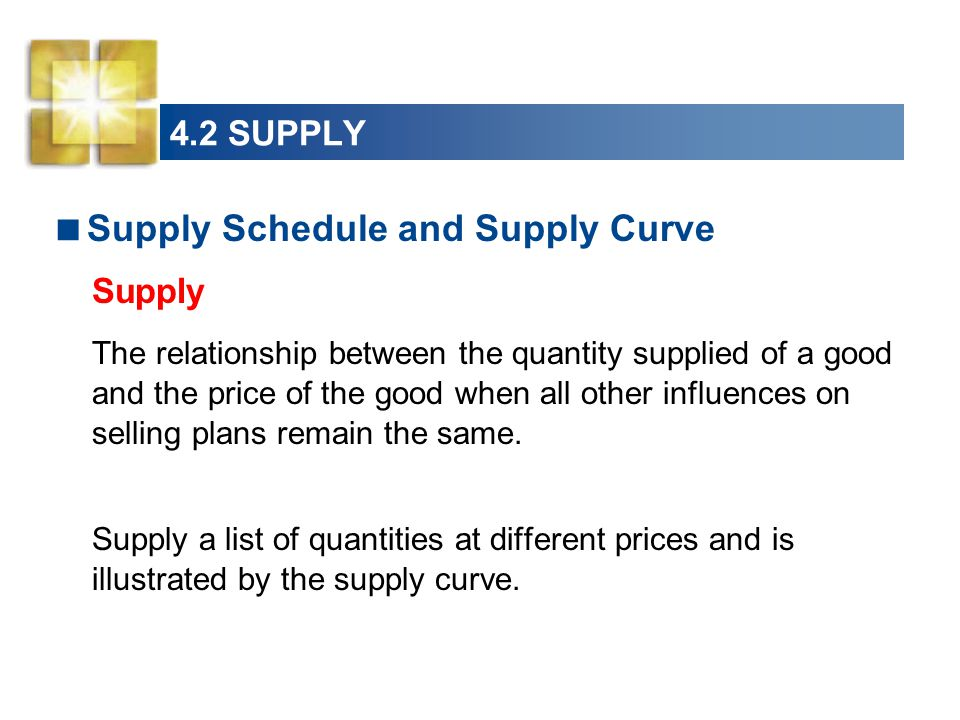 4.2 SUPPLY  Supply Schedule and Supply Curve Supply The relationship between the quantity supplied of a good and the price of the good when all other influences on selling plans remain the same.