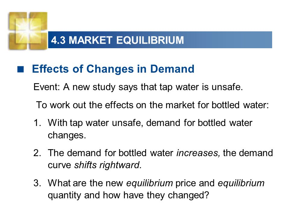 4.3 MARKET EQUILIBRIUM  Effects of Changes in Demand Event: A new study says that tap water is unsafe.