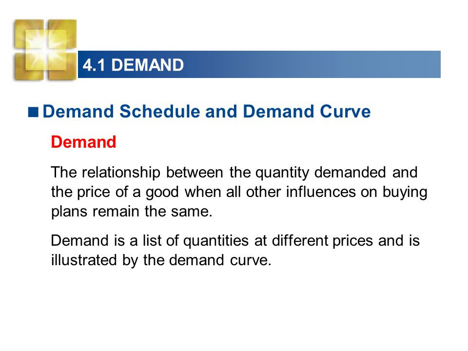 4.1 DEMAND  Demand Schedule and Demand Curve Demand The relationship between the quantity demanded and the price of a good when all other influences on buying plans remain the same.