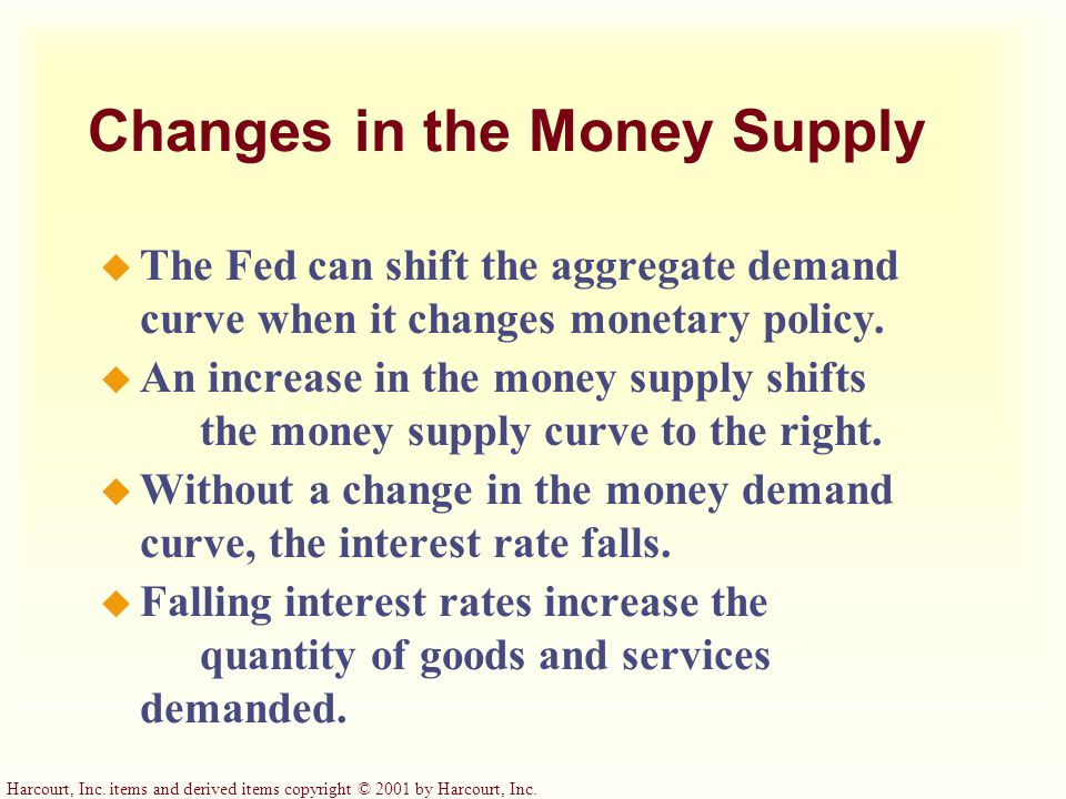 Changes in the Money Supply u The Fed can shift the aggregate demand curve when it changes monetary policy.