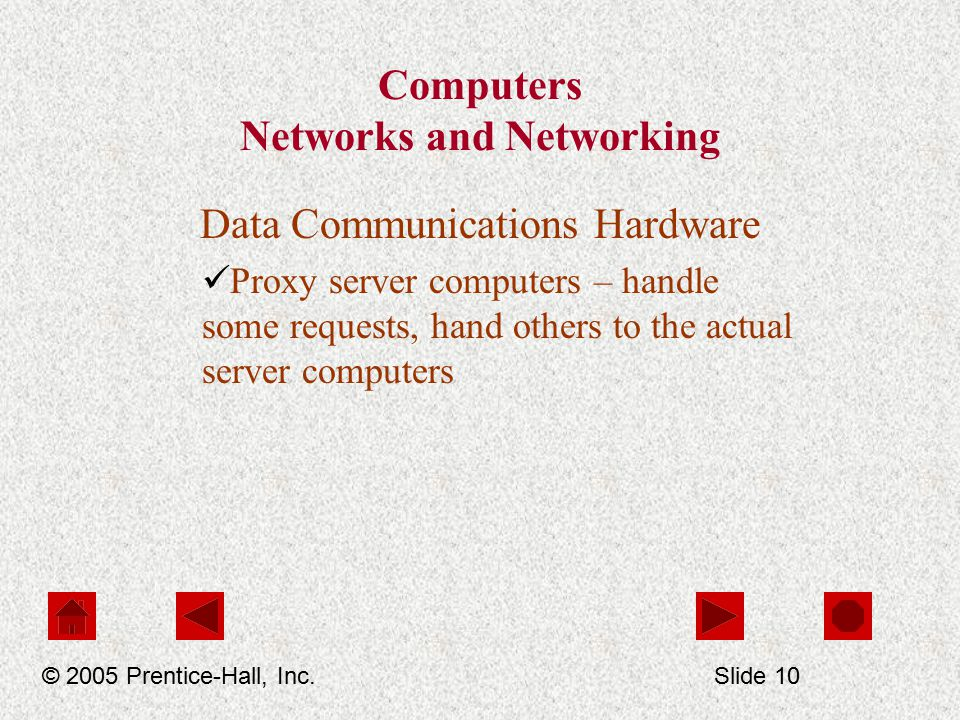 Computers Networks and Networking Data Communications Hardware Proxy server computers – handle some requests, hand others to the actual server computers © 2005 Prentice-Hall, Inc.Slide 10