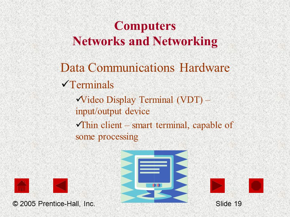 Computers Networks and Networking Data Communications Hardware Terminals Video Display Terminal (VDT) – input/output device Thin client – smart terminal, capable of some processing © 2005 Prentice-Hall, Inc.Slide 19