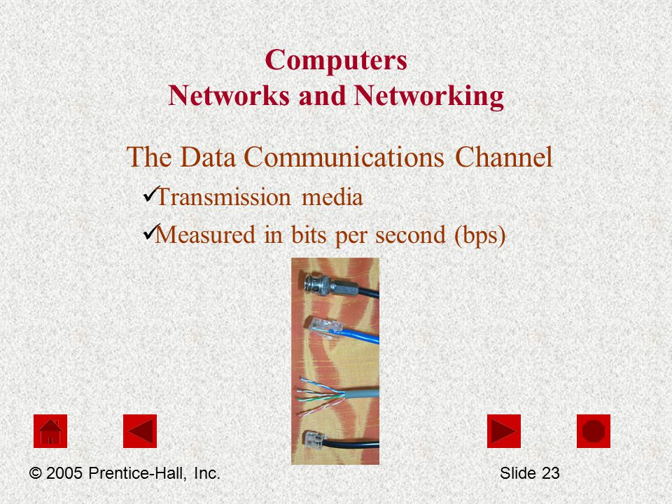 Computers Networks and Networking The Data Communications Channel Transmission media Measured in bits per second (bps) © 2005 Prentice-Hall, Inc.Slide 23