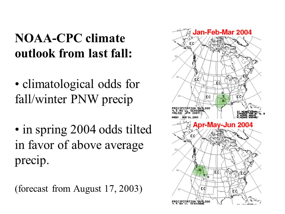 NOAA-CPC climate outlook from last fall: climatological odds for fall/winter PNW precip in spring 2004 odds tilted in favor of above average precip.