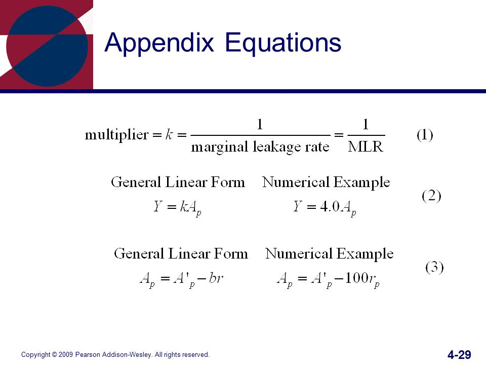 Copyright © 2009 Pearson Addison-Wesley. All rights reserved. 4-29 Appendix Equations
